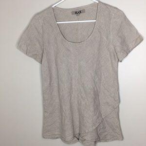 FLAX linen short sleeve top sz S